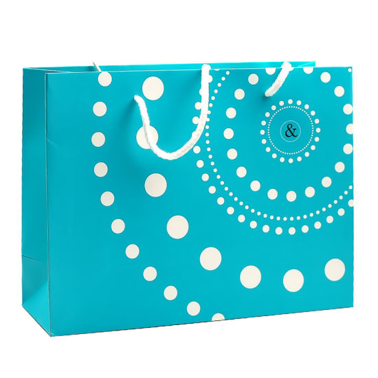 Sky Blue DOT Printed Paper Gift Bag with Long Rope Handle