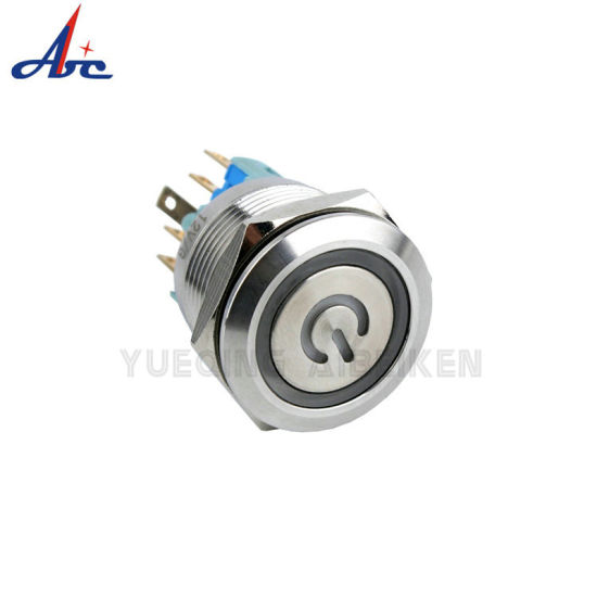 22mm 6pin 24V Ring LED Power Logo Lighted Pushbutton Switch