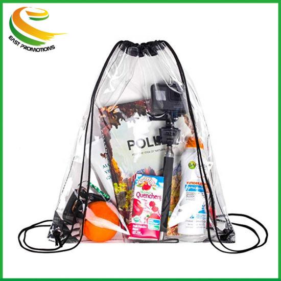 Custom Waterproof Fashion Shopping Clear Transparent PVC Drawstring Bag