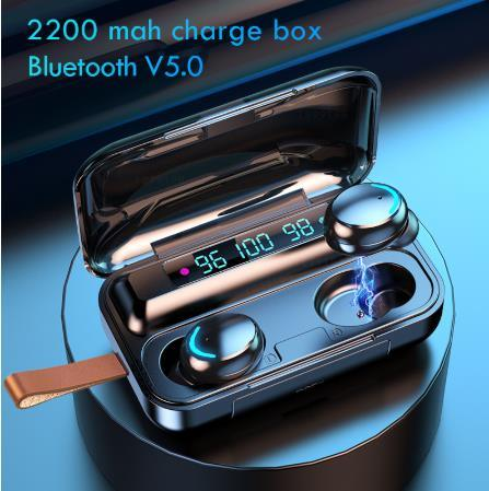 F9-10 Black Bluetooth Earphone with 2000mAh Charging Case 3 LCD LED Battery Display Playtime in-Ear True Wireless Earbuds F9 Tws