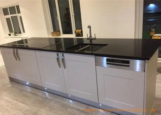 China Crystal Pure Black Quartz Kitchen Countertops For Interior Design China Quartz Countertop Kitchen Countertop