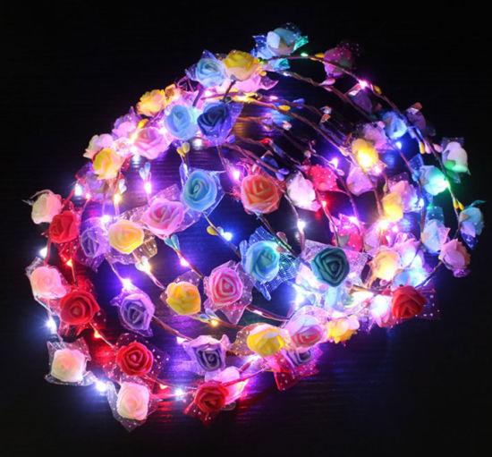 LED Luminous Flower Wreath Headband Crown for Girls Women
