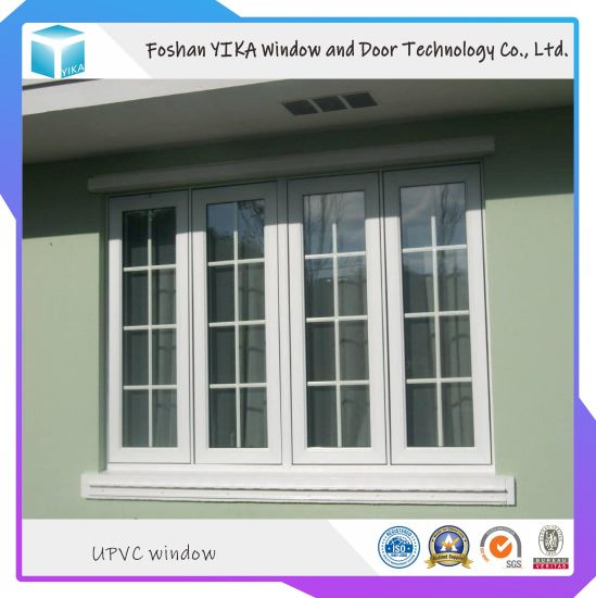 Grill Design French Window Tempered Glass UPVC/ PVC Window