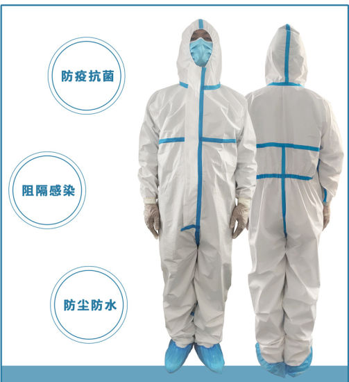 Hot Seller China Factory Ready to Ship Stock Wholesales White Color Non Woven PE Personal Civil Disposable Protective Suit Clothing