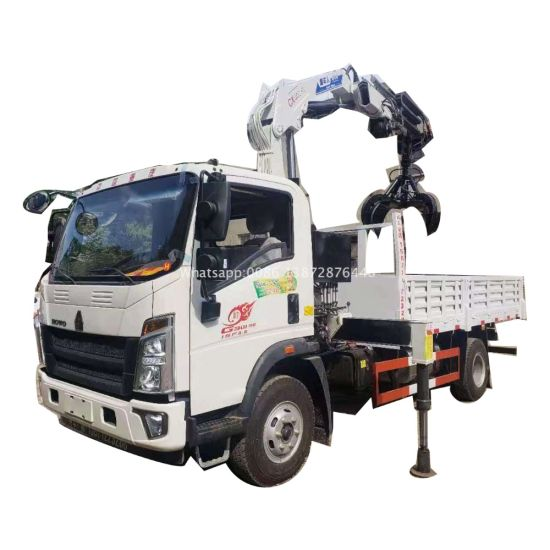 HOWO Light 6 Ton Knuckle Boom Truck Mounted Crane with Grab