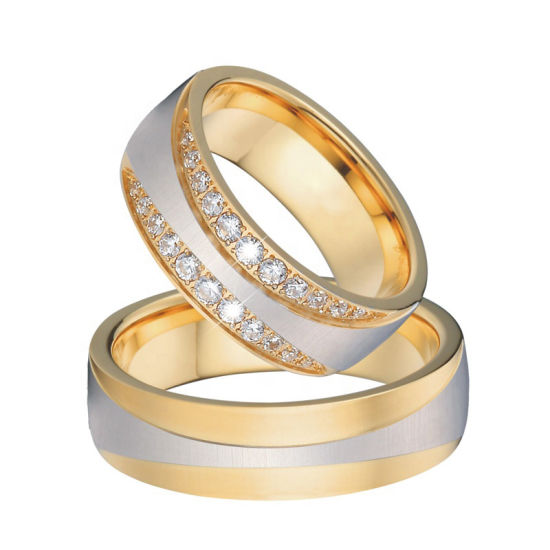 Qaulity 18K Gold Plated Engagement Wedding Rings Set for Women