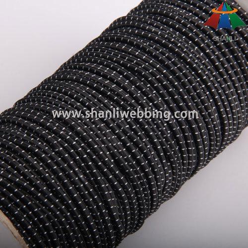 3mm Black White Polyester Striped Elastic Cord
