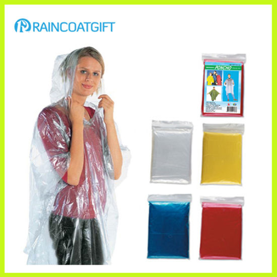 Clear Hiking Camping Rave Festival Shows Emergency Pocket Raincoat Rain Poncho pictures & photos