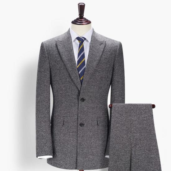Latest Fashion Business Meeting Grey Woolen Coat Pant Men Suit