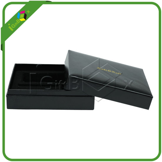 Black Faux Leather Paper Gift Packing Box pictures & photos