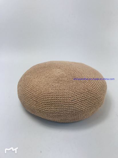 Fine Thin Crocheted Paper Straw Soft Beret Fashion Hat pictures & photos