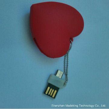 OTG USB Flash Drive PVC Heart Shape Pen Drive
