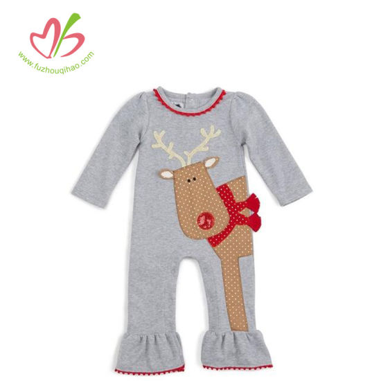 Winter Christmas Halloween Deer Applique Ruffle Baby Bodysuit