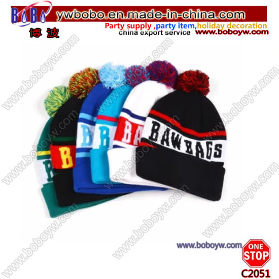 OEM Colorful Cuffed Fancy Jacquard Football Knitted Pompom Beanie Hat (C2051)