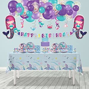 Mermaid Birthday Party Decorations for Girls - Plates, Cups, Napkins, Cupcake Topper & Wrappers, Happy Birthday Banner, Table Cover, Balloon Garland Kit.