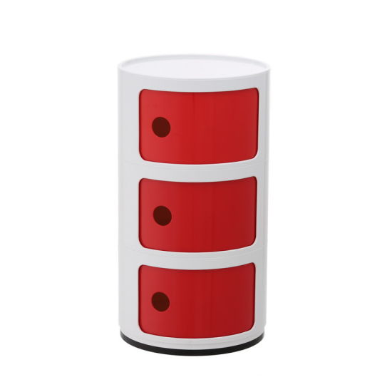 Three Layer Dia 32cm Plastic Circular Cabinet Sliding Door Nightstands