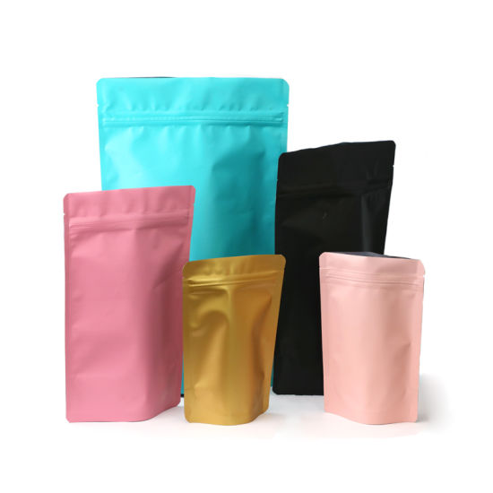 Low MOQ Compostable Food Packing Plastic Foil Clear White Matte-Finished Stand up Pouches Bag with Resealable Zipper