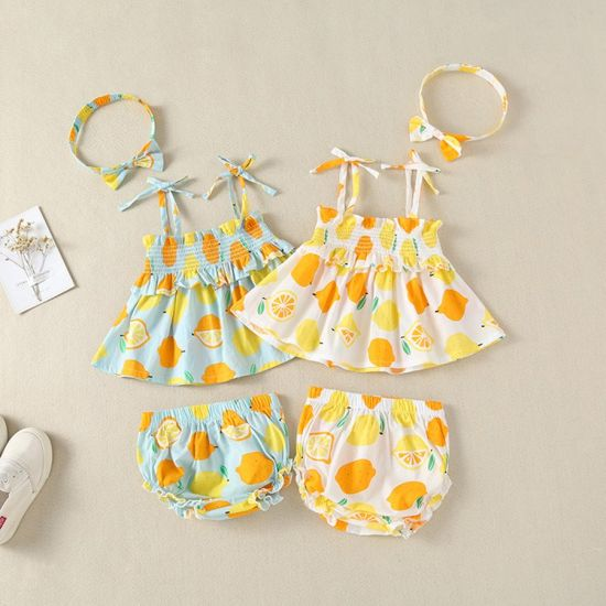 Bkd Colorful Summer Baby Clothes Cotton Sleeveless Baby Dress Clothes Set