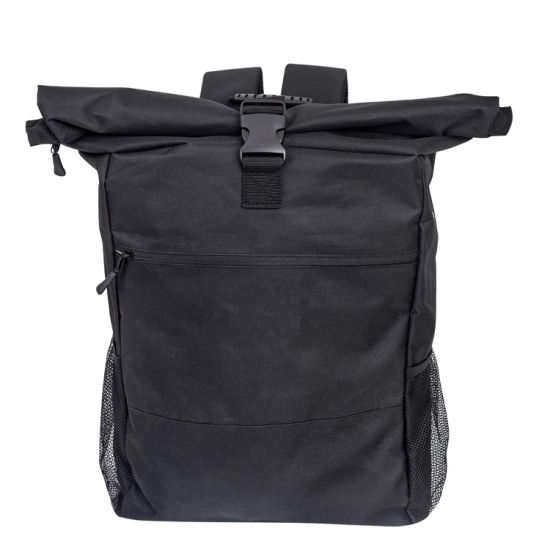 Rolltop Multicolor Polyester Backpack Bag Men & Women Daypack with Laptop Compartment 20 L to 30 L Ideal for School, University, Job, and Travel All Black