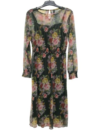 Plus Size Sweet Ldies Dress with Long Sleeve and Round Neck Keyhole Opening at Back