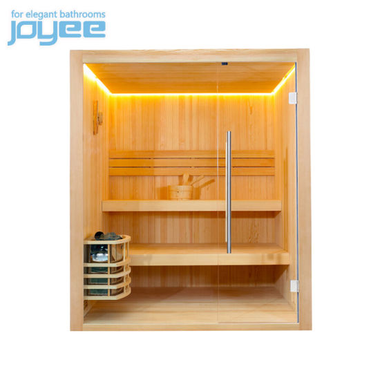 Joyee Bathroom 2 Person Tradition Japanese Sauna Stean Bath Square Corner Mini Sauna Room Wood