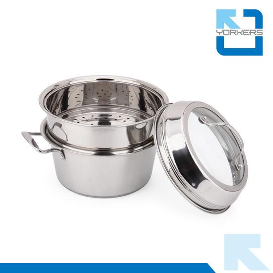 Double-Deck Stainless Steel Kitchen Utensils Steam Pot