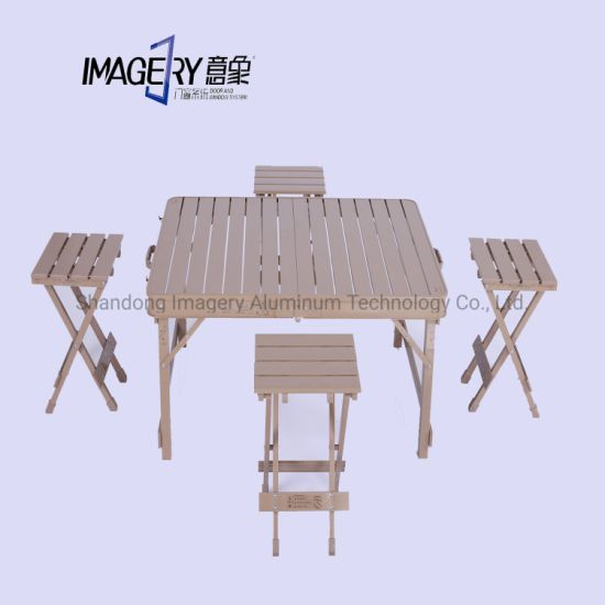 Aluminum Folding Picnic Table Portable Indoor Outdoor Table and Chair