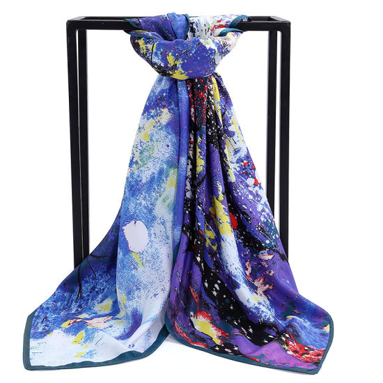 Twill Square Scarf Hijab Quality Factory Wholesale Chain Print Silk Like 90*90 Large Size