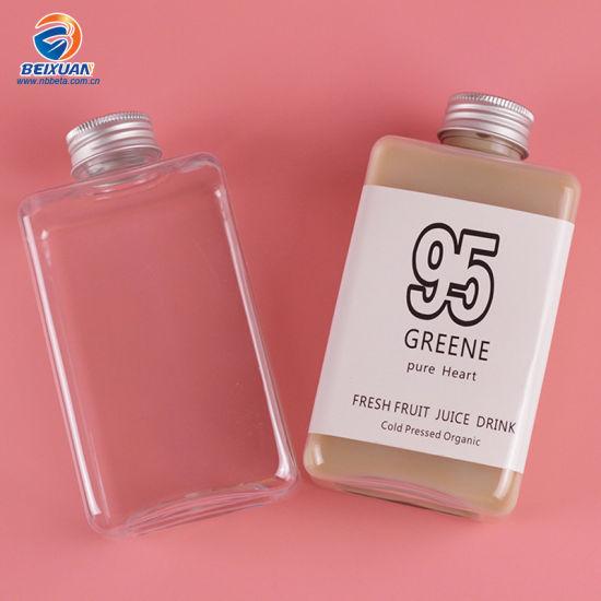 High End 250ml 300ml 400ml Flat Square Pet Clear Wine Liquor Bottle Plastic Milk Tea Beverage Bottle with Screw Cap