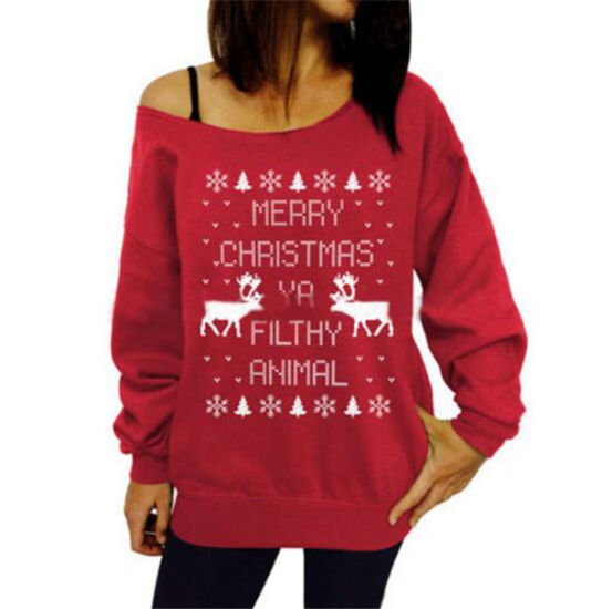Christmas Print off-Shoulder Jumper Sweater (80007) pictures & photos
