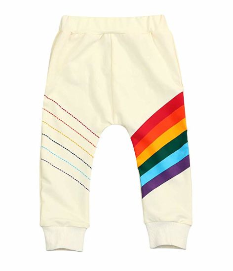 Baby Girls Springtime Soft Rainbow Fleece Trousers pictures & photos