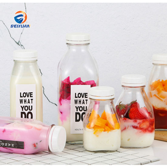 Wholesale 500ml Square Glass Bottle with Plastic Cap for Beverage Milk Juice pictures & photos