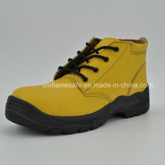 Yellow Leather Safety Work Boots for Women Ufb057