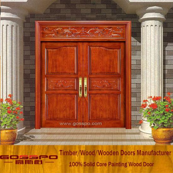 China Solid Wood Carving Exterior Wood Door Entrance Double Door ...
