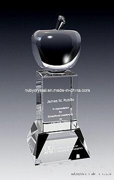 9 Inch Tall Superb Apple Crystal Award Trophy (GL12)