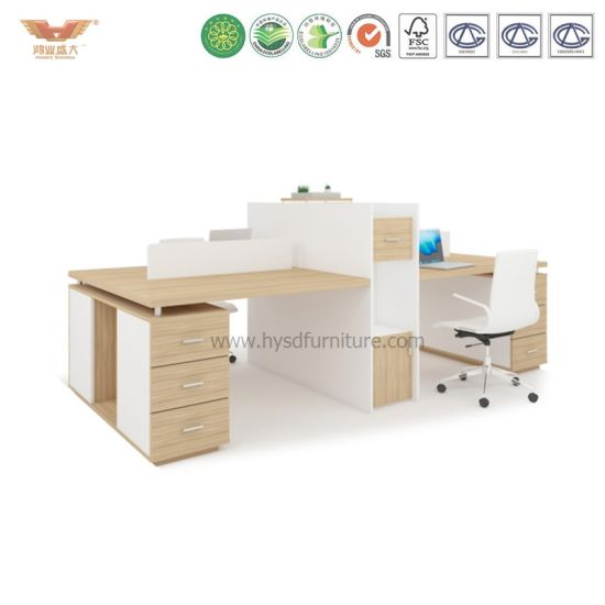 Cheap Light Color Office Computer Cubicle with Cabinets pictures & photos