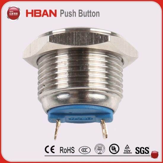 Metal 16mm Off On Waterproof Push Button Momentary Switch SPST