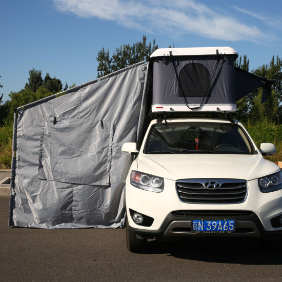 Overland Camping White Hard Shell Fiberglass Car Roof Top Tent