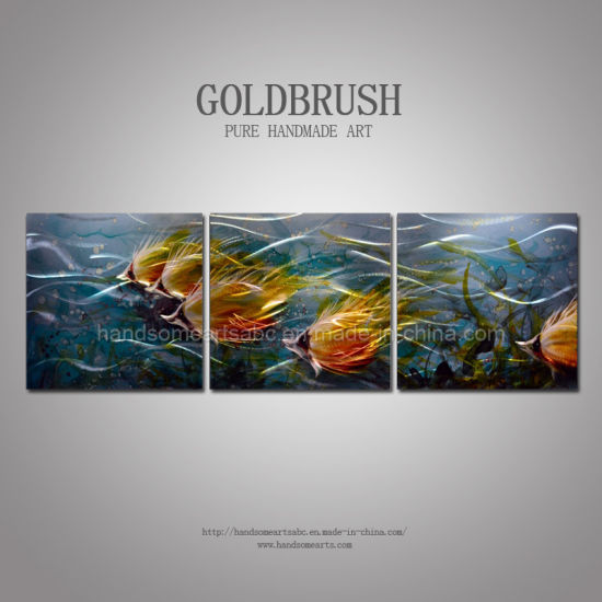 Blue Nautical Tropical Sea of Fish Metal Wall Art Decor