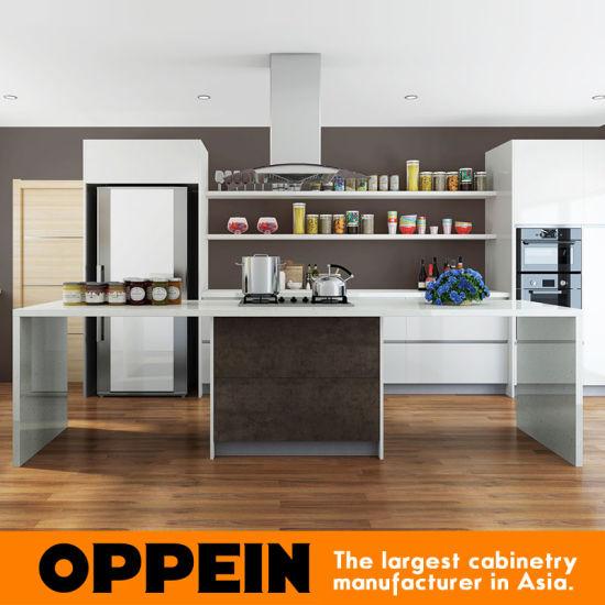 China Modern White Acrylic Spain Sintered Rock Wood Kitchen Cabinets