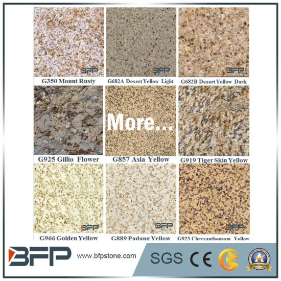 Polished Granite Facade Stone Tile for Wall Cladding Floor in Yellow Color pictures & photos