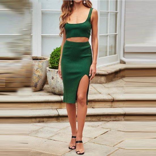Ribbed Sling Top+Skirt Women Leisure Dress Fashion Casual Clothes