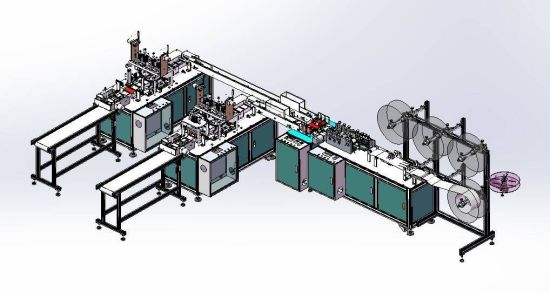 High Speed Ear Loop Face Mask Making Machine Two Lines