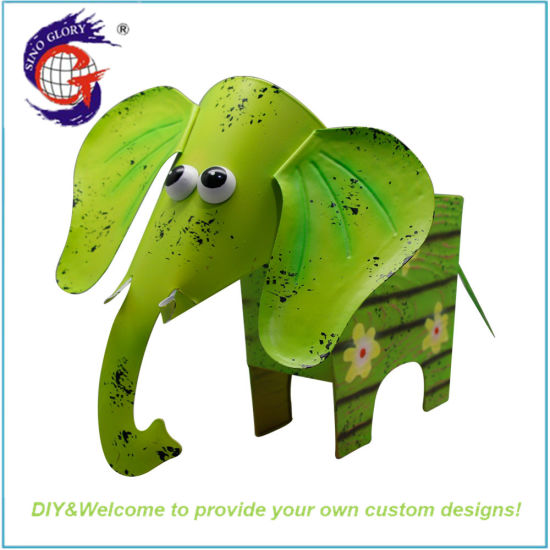 Cute Green Durable Metal Elephant Flower Pot Animal for Garden