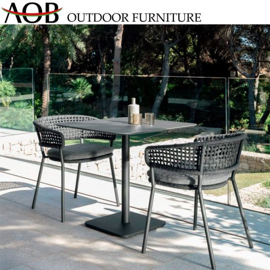 Modern Outdoor Garden Patio Furniture Restaurant Cafe 2 Seater Aluminum Rectangular Table Dining Set Arm Chair pictures & photos
