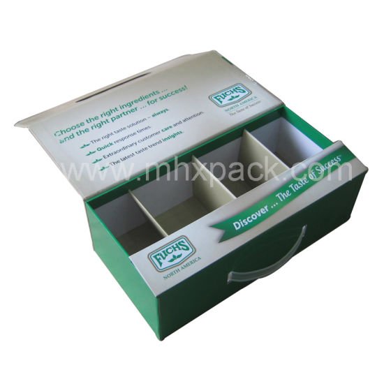 Folding Rigid Cosmetic Magnet Paper Packaging Box with Plastic Handle