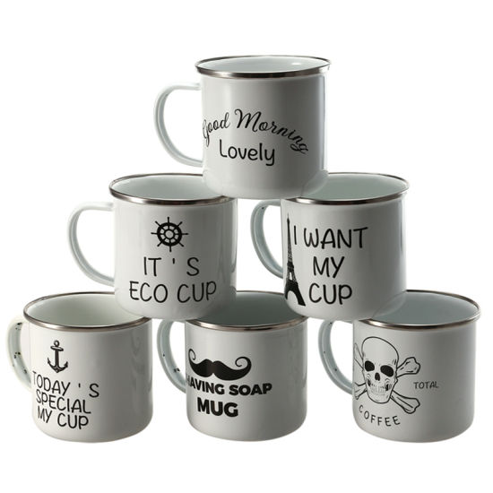 High Quality White Color Camping Mug Promotion Gift Enamel Coffee Mug pictures & photos