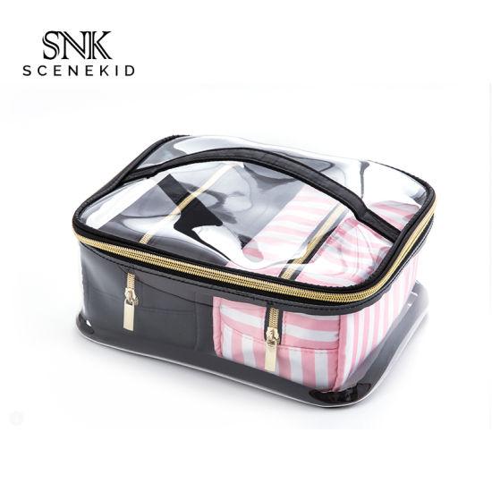Professional Manufacturer Custom PVC Travel Makeup Organizer Bag, Fashion Lady Toiletry Wash Bag Hot Sale Pink & Black Cosmetic Bag Set