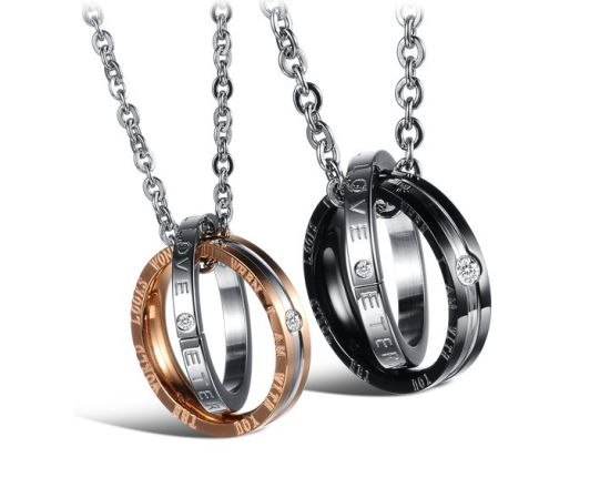 Couple Double-Rings Rhinestone Lovers Necklace Black/Gold Pendants pictures & photos