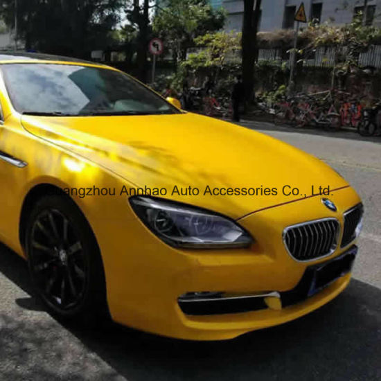 Yellow Metal Satin Lightning Metal Chrome Auto Wrap Vinyl